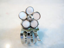 Tiny mini silver metal white flower hair claw clip with rhinestones