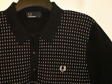 Fred Perry jacquard knit polo shirt top K3515 L large F422