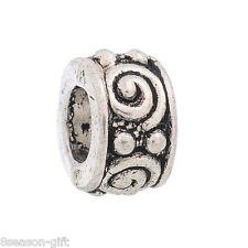 50Pcs Swirl Spacer Beads Fit Charm Bracelet