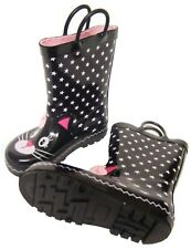 Infants Girls Cute Black Pink Cat Wellington Wellies Boots Size 9/27