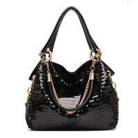 Women Lady Leather Shoulder Bag Bling Glitter Sequins Messenger Handbag Tote