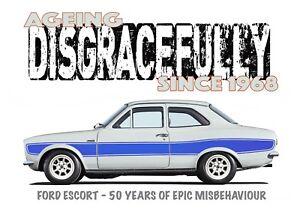 FORD ESCORT MK1 t-shirt. RETRO FORD. CLASSIC CAR. MODIFIED. 50TH ANNIVERSARY.