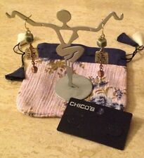 NEW Chico's Artful Pierced Earrings - Ceramic Bead/Etched Metal/Chain & Pearl