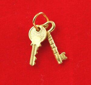 NEW 9ct Yellow Gold Keys Charm 9K Pendant Open Lock Door Opportunity 375 9KT