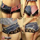 Sexy Women Low Waist Mini Shorts Sumemr Hot Pant Lace Denim Shorts Jeans Fashion