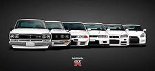 Nissan GTR Car Collection 30x14 Inch Canvas - Framed Picture Poster Skyline