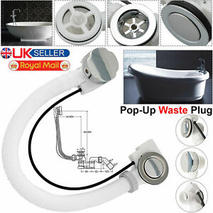 Bath Overflow Concealed Waste Pop-Up Plug & Plastic Pipe and Twist Chrome Handle