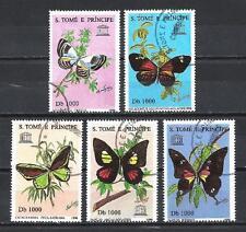 Papillons St Thomas et prince (34) série complète de 5 timbres oblitérés