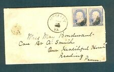 """MOSELEY VA."" Black Chesterfield CDS on 1889 cover w/pair of #212s to Reading PA"