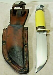 1950's~WESTERN~BOULDER, COLO.~PAT'D.~UNUSED~YELLOW HANDLE HUNTING KNIFE w/SHEATH