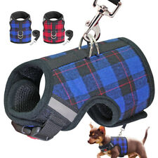 Reflective Dog Harness Leash set for Small Dogs No Pull Mesh Plaid Walking Vest
