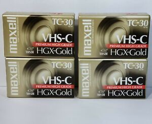 Maxell TC-30 VHS-C Premium High Grade HGX-Gold Camcorder Tapes (4) New