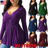 Women Long Sleeve V Neck Pleated Swing Tops Ladies Casual Autumn T Shirt Tee USA