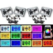 "4X6"" BLUETOOTH Color Change SMD LED Halo Angel Eye Headlight HID Light Bulbs Set"