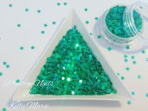 2ml Pot Teal Iridescent Stars 3mm Nail Art  Sequins Glitter Mermaid Christmas