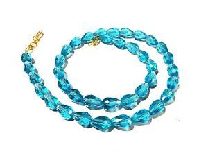 "24""inch Necklace Blue Topaz Quartz Teardrop 8x12mm Hydro Beads Gold Plated"