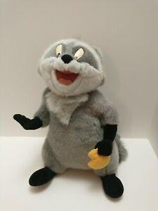 "Meeko Walt Disney World Pocahontas Jointed Plush Raccoon w/ Snack Disneyland 15"""