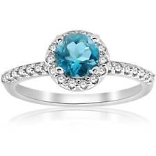 1ct  Treated Blue Topaz & Diamond Round Halo Engagement Ring 14K White Gold