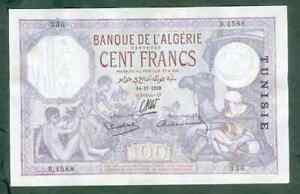 RARE BILLET DE 100 FRANCS TUNISIE DU 14 11 1938 SUP