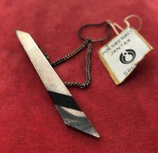 Men's Sterling Tie Bar 925 Vintage Modernist Black