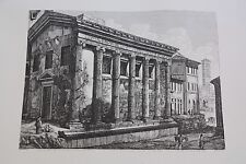 Luigi Rossini LIthograph print ca 1822 of ruins in Rome Italy Temple of Fortune