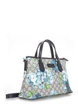 NEW GUCCI Small Canvas GG Blooms Tote Bag Canvas Mini Shoulder Bag Beige Blue