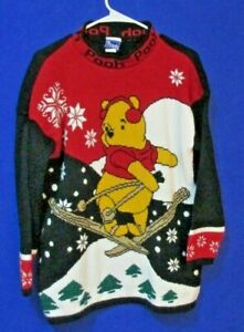 DISNEY BRAND WINNIE THE POOH CHRISTMAS THEME PULL OVER  SWEATER  SZ LARGE