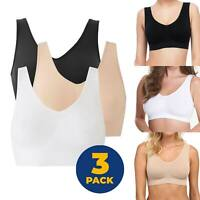 3 PACK Womens Ladies Sports Sleep Comfort Bras Full Cup Non-Wired Seamless Soft