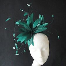 Emerald Green Feather Fascinator for Weddings, Races and Proms