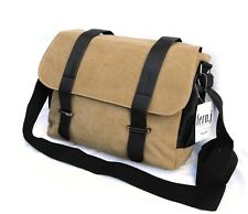 "Khaki Messenger Canvas Bag Macbook Laptop 13"" iPad Multi Function Satchel Case"