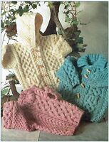 Baby Jacket Sweater knitting pattern, Aran, cable Child Hood toggles boy girl.