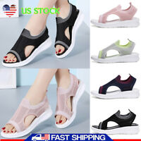 Womens Knit Striped Open Toe Sandals Slip On Breathable Casual Shoes Size US 6-9