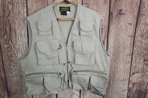 Vintage Eddie Bauer Fly Fishing Vest Men's Sz Medium Tan Hunting Photography