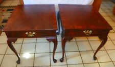 Pair of Mahogany Burl Inlaid End Tables / Side Tables by Weiman  (T647)