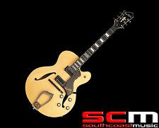 Hagstrom HJ500NAT Gloss Natural Finish Jazz Full Hollow Body Electric Guitar New
