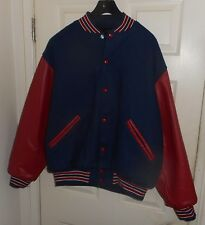 Nos 50's-60's Game Sportswear Blue Wool+Red Leather Hotrod Varsity Letterman Xl