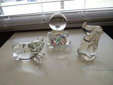 """Vintage Lot Of 3 ANIMAL PAPERWEIGHTS Colorful PIG Clear FROG & DOG 5.5"""" Japan"""