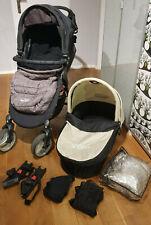 Baby Jogger City Mini-4-Rad-Kinderwagen mit Babywanne, schwarz, viel Zubehör