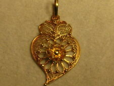 A NEW 800 GOLD FILIGREE  HEART CHARM from Portugal  # 03-0175