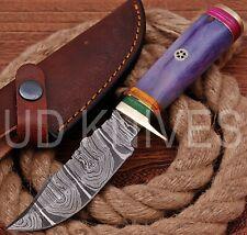 UD HANDMADE FIXED BLADE 1095 DAMASCUS ART HUNTER SKINNER KNIFE CAMEL BONE 10327