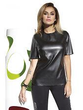 Fashion Top Blouse Shirt Fashion Elastic Faux Leather Cher