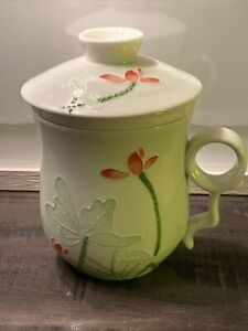 Teavana 3 pieceTea Cup With Strainer Infuser Fine Porcelain China Mint green