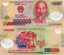 VIETNAM 200000 Dong POLYMER Banknote World Money p123 Asia Bill 2011 Ho Chi Minh