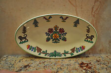 Vintage Woods Ivory Colorful Ware Oval Plate Made in England