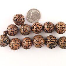BUY 2, GET 1 FREE Bead Wood Brain Nut Brown Round Jewelry 12-16mm 12 Pcs 53606