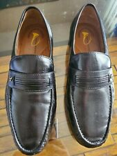 French Shriner Mens Concord Black Leather Moc Toe Loafer Dress Shoes Sz 9.5M EUC