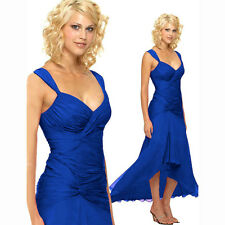 Stylish Floating High-Low Formal Cocktail Evening Party Bridesmaid Dress Blue