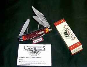 """Camillus 884 Rough Cut Tobacco Stockman """"Inscribed""""  4"""" Cl. W/Packaging & Papers"""