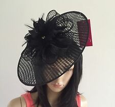 STUNNING BLACK DISC FASCINATOR HAT ASCOT WEDDING OCCASION MOTHER OF THE BRIDE