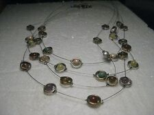 "Vintage Coldwater Creek Multi-Strand  Halo & Stone Necklace, 19"", Silver Tone"